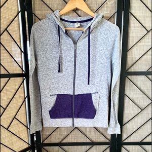 Zine, Zip Up, Hoody, Grey Purple, Medium